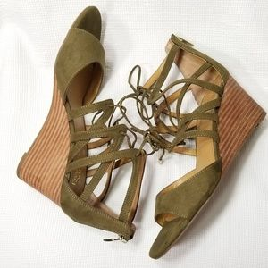 Franco Sarto 10 Green Mollie Wedge Sandals